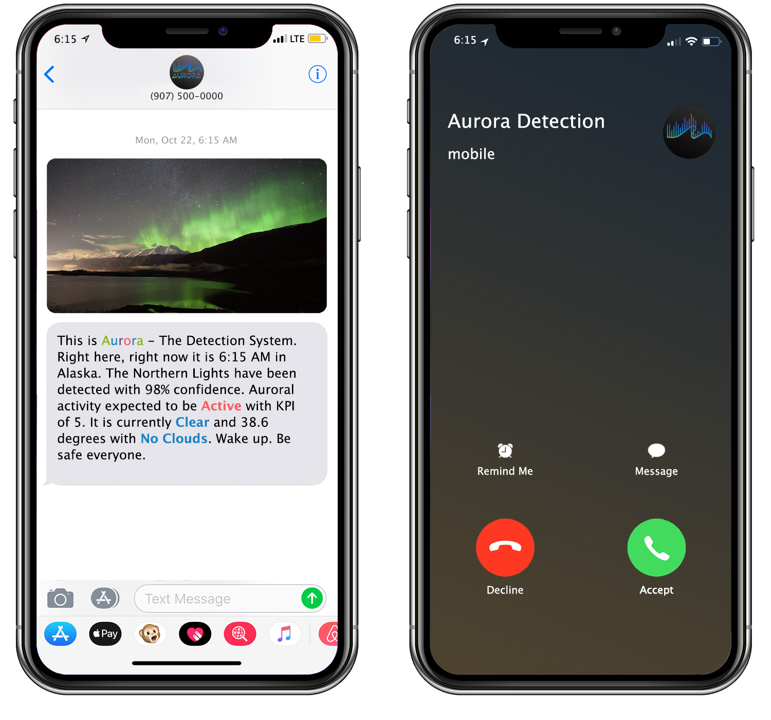detects aurora borealis and sends alerts with phone call and text message