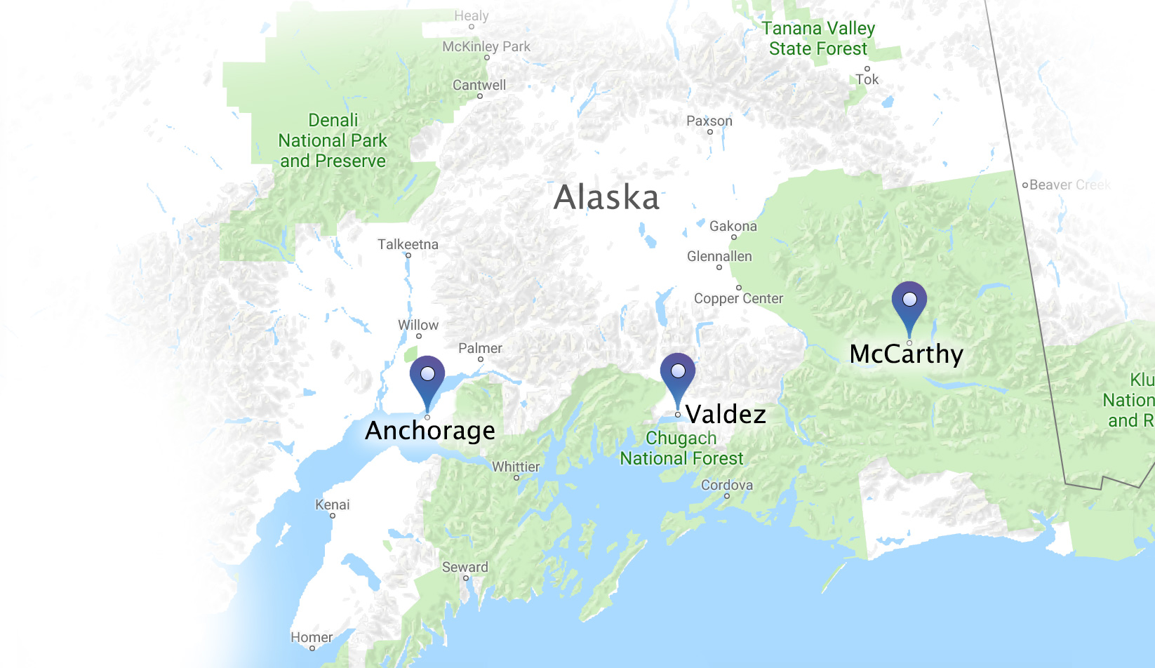 locations of aurora cams in alaska including Valdez, Anchorage and McCarthy