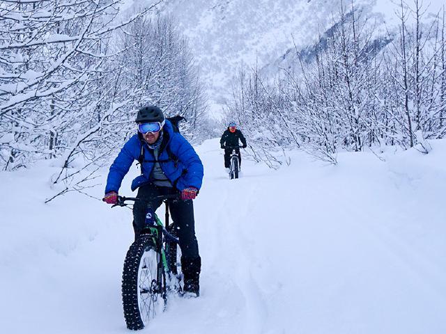 fat biking with Fatback Skookum bike in the Mineral Creek trail system Valdez
