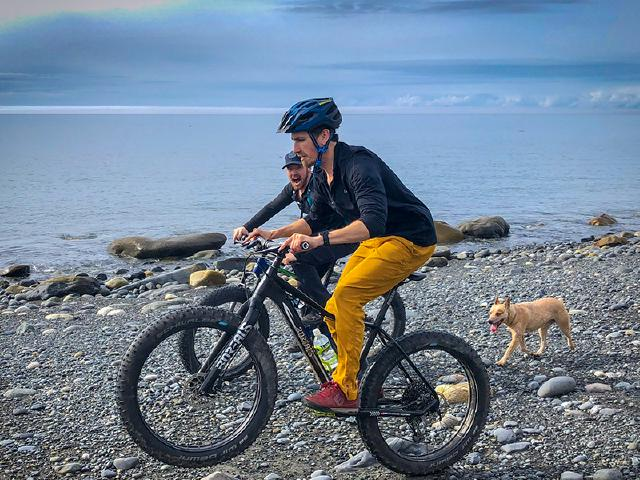 two GOlang programmers riding Fatback Skookum bikes on Prince William Sound