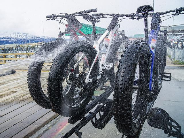 creative design with water on Fatback bikes in Valdez small boat harbor and marina