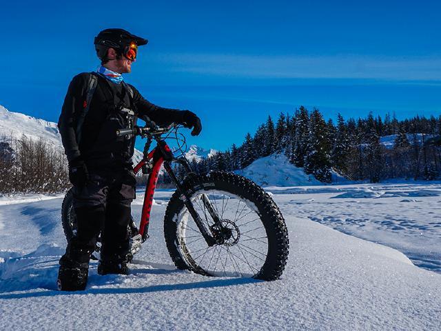 fat biking in fresh snow during winter in Valdez Alaska