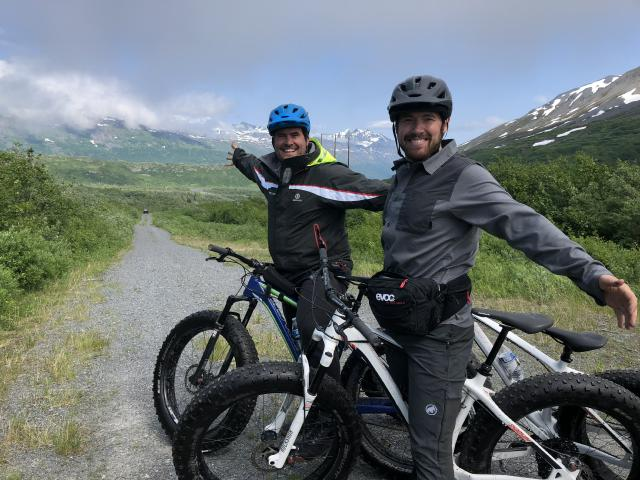 entrepreneurs and founders work life integration biking in Thompson Pass