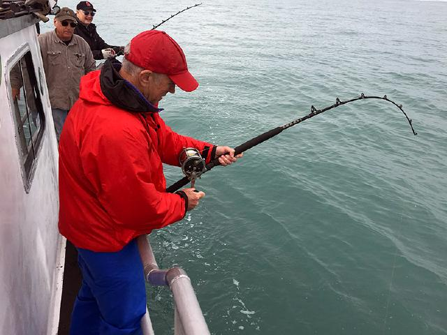 python and GOlang software engineer from Seattle fishing for Halibut in Alaska's Prince William Sound on charter boat