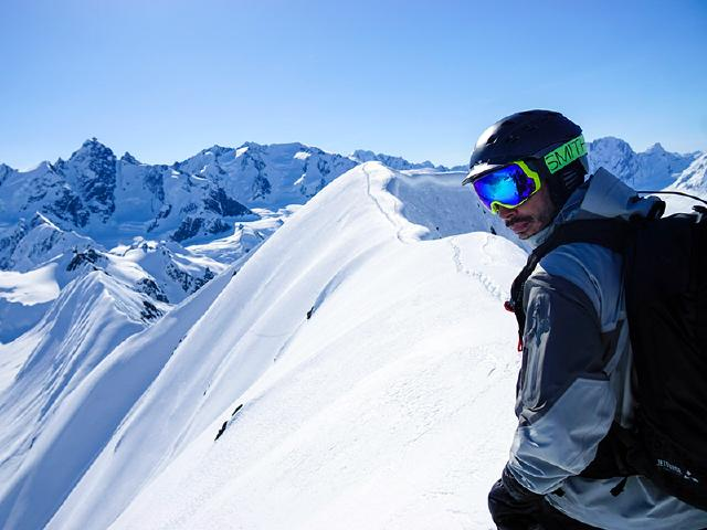 heli-skiing spine of jagged peak in Chugach Mountains near Copper Center