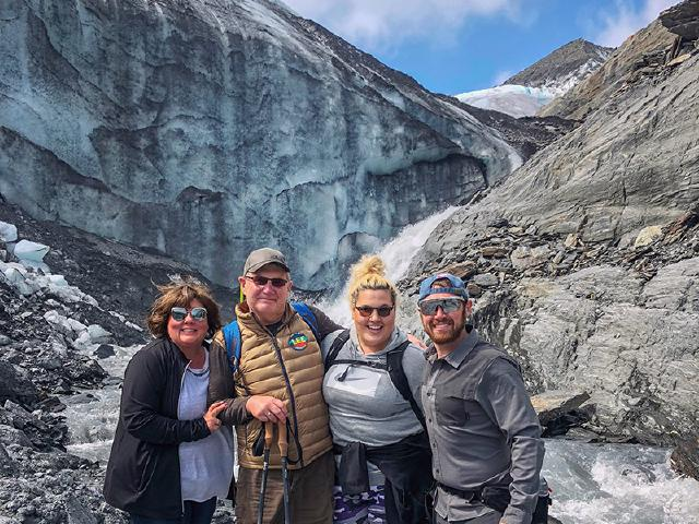 family of startup founder on hike to Worthington Glacier in summer on sunny day