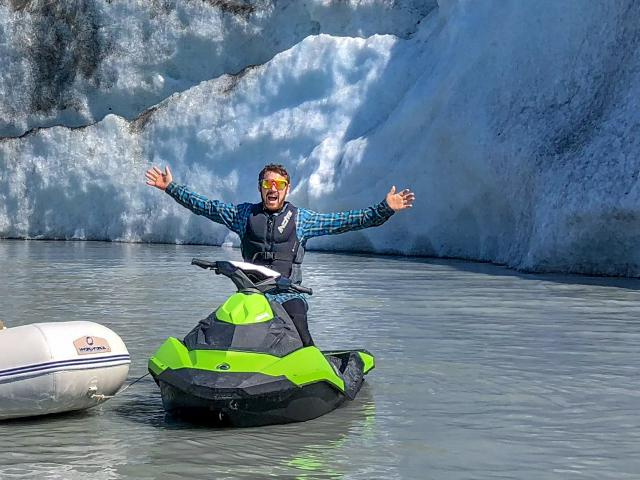 excited and happy to have higher quality of life living in Alaska and riding Seadoo on glacier lake