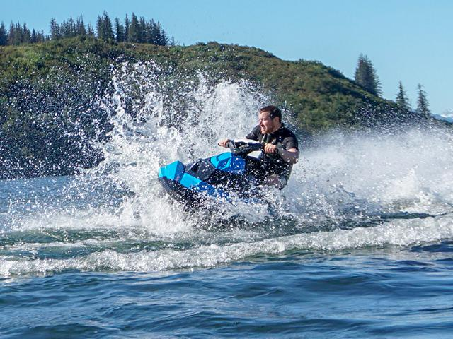break from work to play in warm water of Robe Lake on Seadoo and waverunner