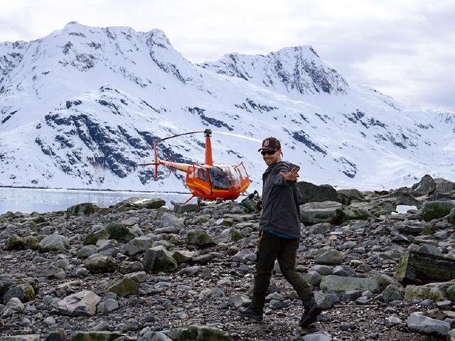 taking off on helicopter after walking on glacier