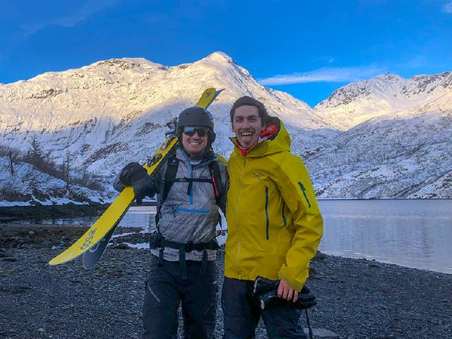 backcountry skier with DPS skis and Armada jacket on Prince William Sound