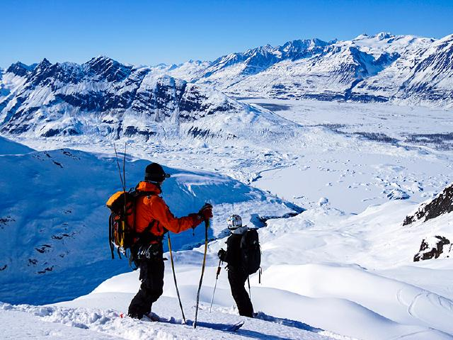 heli-skiing with guide in Chugach Mountains of Alaska