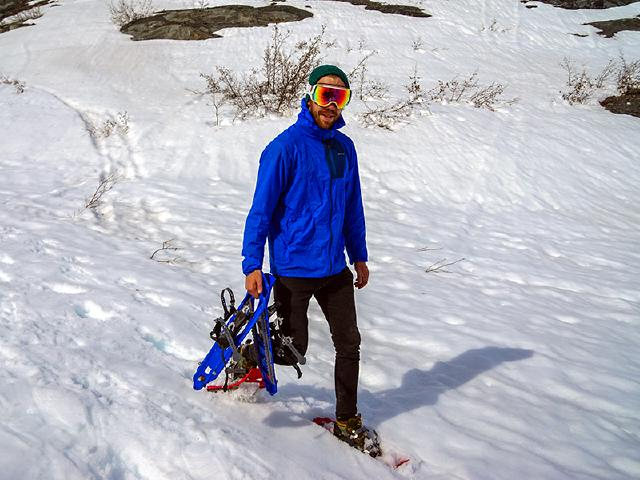 borrowing rented snowshoes for friends in Alaska