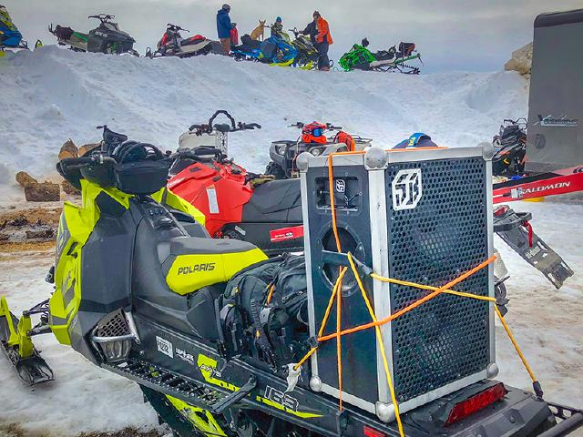 fun times with good people listening to best music from Soundbox on Polaris snowmachine