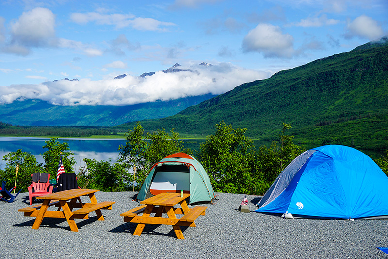 scenic camp site over looking Robe Lake towards Valdez Glacier for startup teams to work remotely yet connected
