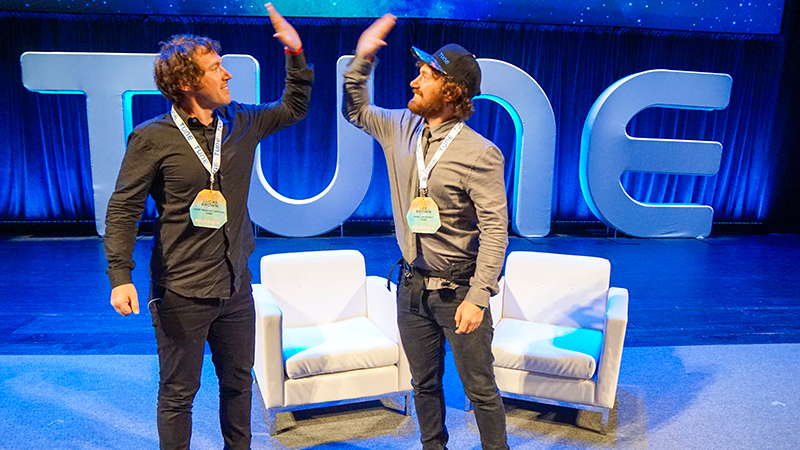 Founders of TUNE - Lucas and Lee - at Postback conference in Seattle