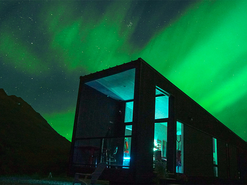 stay and see aurora borealis and northern lights in rental tiny house near Valdez