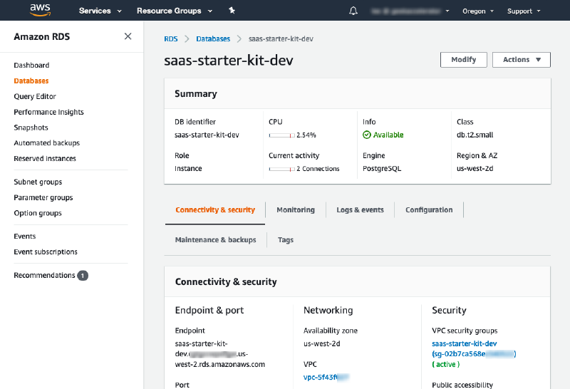 Amazon Relational Database Service (RDS) for SaaS startup screen capture