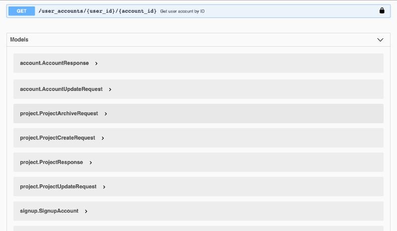 Example Data Models API documentation using Go Swag