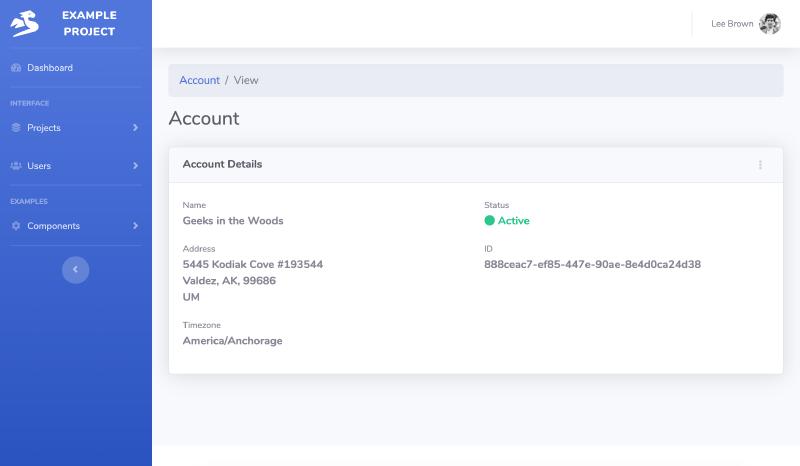 example Go code of account view in SaaS web app