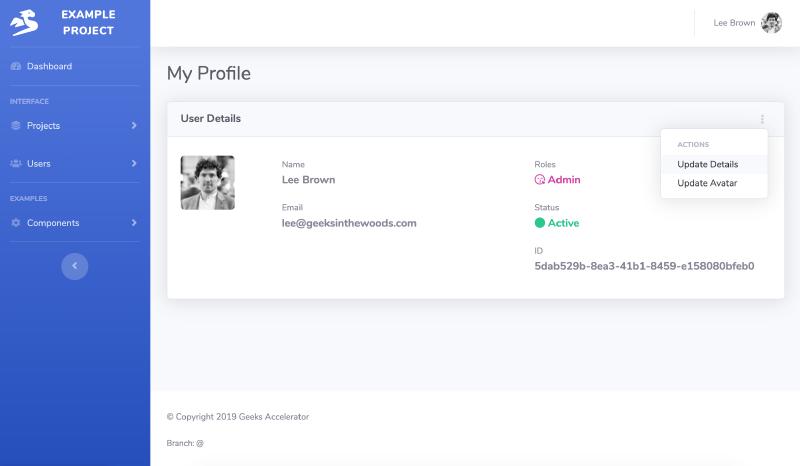 example Go code of user profile view in SaaS web app