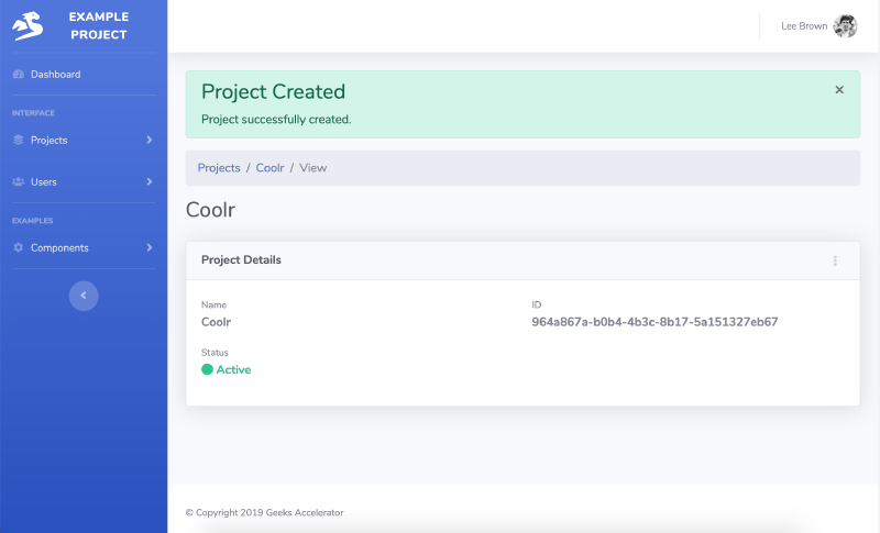 Go code example creating Object in SaaS Web App