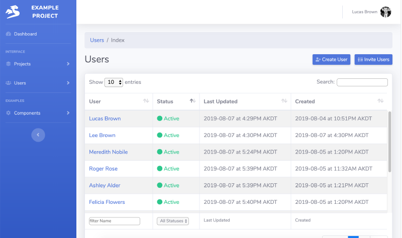example Go code of listing users index for management in SaaS web app
