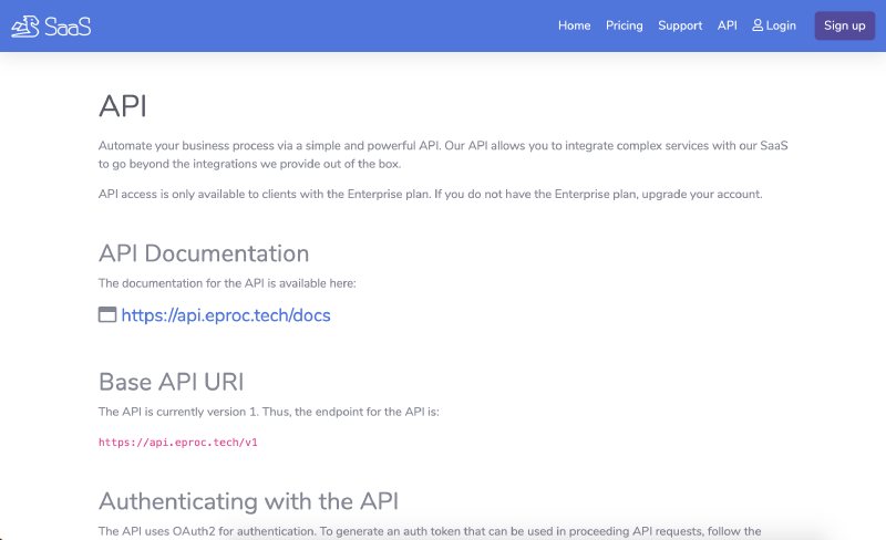 Go code Example API page for SaaS website