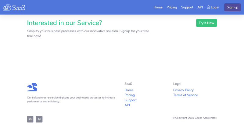 Go code Example of footer for SaaS website