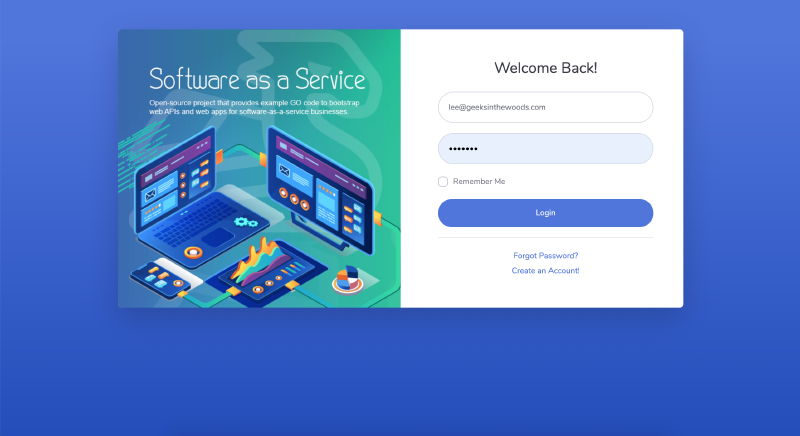 Go code example of User Login template and authentication for SaaS Web App