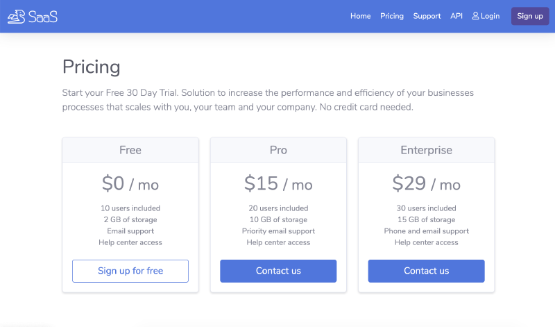 Go code Example Pricing page for SaaS website