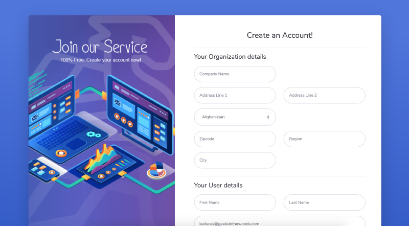 Go code example of Signup template and create account for SaaS Web App