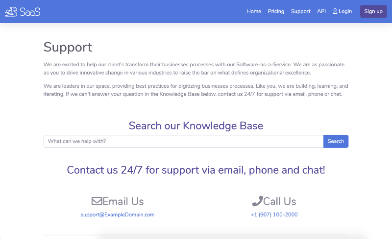 Go code Example Support page for SaaS website