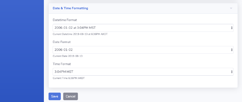 example Go code to customize date time format in SaaS web app